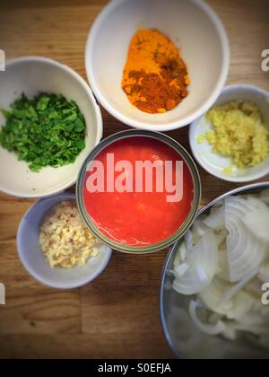 Cooking ingredients for preparing a curry. Tomato, spices, garlic, ginger, coriander and onion. - Stock Image