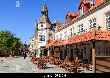 Columbus Cafe and Handelsbanken on pedestrianised street in town centre of Lemvig, Central Jutland, Denmark, Scandinavia, Europe - Stock Image