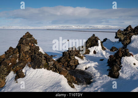 Panoramic landscape during wintertime in Iceland, Europe - Stock Image