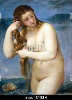 Titian, Venus Rising from the Sea ('Venus Anadyomene'), painting, 1520 - Stock Image