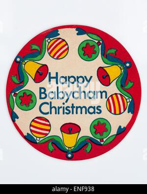 Vintage Beer Mat advertising Babycham at Christmas - Stock Image