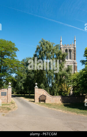 The Church of St John the Baptist in Cockayne Hatley Bedfordshire, thirteenth century. Typical English Church in a countryside setting. - Stock Image
