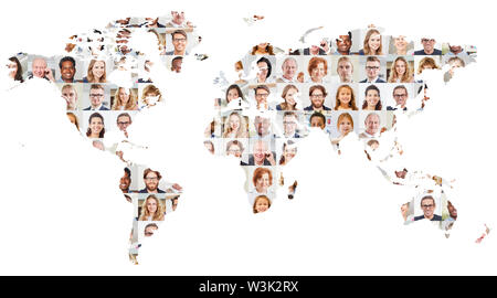 Indoor portrait collage of people of different ages on world map as globalization, society and generations concept - Stock Image