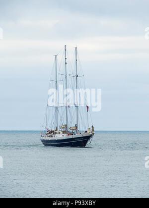 The Netherlands  three masted schooner Eendracht arriving in Roker Harbour Sunderland for the Tall Ships Race 2018 - Stock Image