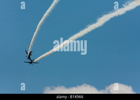 Simulated flying accident during acrobatic flying, Airshow Maribor 2008, Slovenia June 15, 2008 - Stock Image