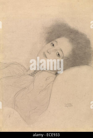 Portrait of a Young Woman Reclining; Gustav Klimt, Austrian, 1862 - 1918; Austria, Europe; 1897 - 1898; Black chalk; - Stock Image