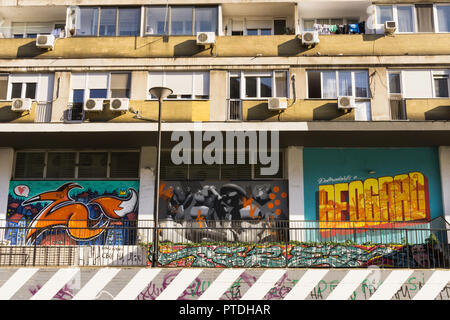 Belgrade street art on a residential building in Old Town (Stari Grad). Serbia. - Stock Image
