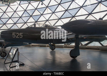 Republic F 84G-31-RE Thunderjet airplane at display in Serbian Aeronautical museum in Belgrade - Stock Image