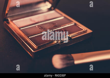 nude tones eyeshadows in a palette with brush and rose gold colors on dark background, concept of beauty and make-up trends - Stock Image