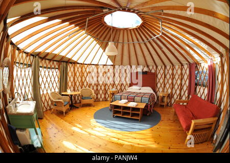 Fabric and wood framed yurt structures for, luxurious, upscale 'glamping' (glamorous camping) at Treebones Resort, Big Sur, California, USA. - Stock Image