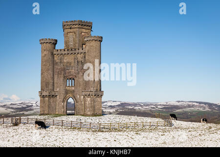 Paxton's Tower. UK. 11th December, 2017. Snowy covered landscape at Paxton's Tower in Carmarthenshire, Wales - Stock Image