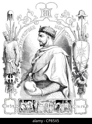 Henry III, 1017 - 1056, historical illustration, 19th century, Heinrich III. (1017 - 1056) aus der Familie der Salier, - Stock Image