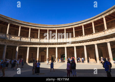 Courtyard of the Palace of Charles the fifth, Palacio de Carlos V at The Alhambra Palace in Granada Spain - Stock Image