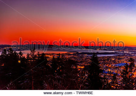 Panoramic high angle view of Oslo and the Oslo fjord, Norway. - Stock Image