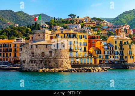 italian castle by the sea Castello di Rapallo in the italian riviera Portofino area - Genova - Liguria - Italy . - Stock Image