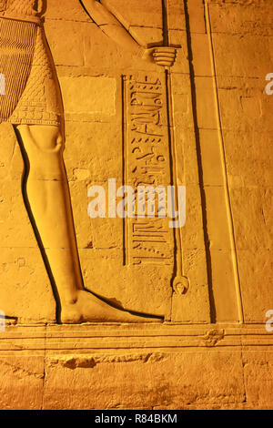 Night time views of the reliefs at the Temple of Kom Ombo, Aswan, Egypt, Africa - Stock Image