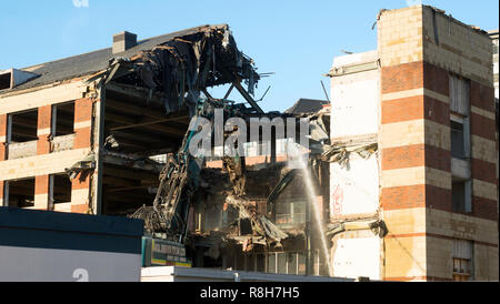 Ex BT building Bridge Court being demolished on Newcastle quayside, north east England, UK - Stock Image