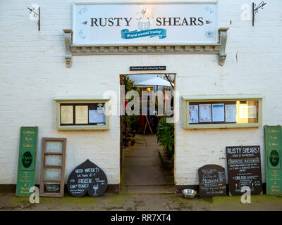 Rusty Shears a tea room that also sells Gin in Silver Street Whitby North Yorkshire - Stock Image