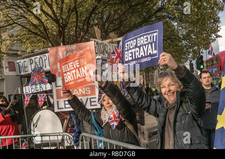 London, UK.  9th January 2019 Protests by stop Brexit group SODEM (Stand of Defiance European Movement) and pro-Brexit campaigners continue opposite Parliament. Most Brexiteers had come to support Brexit rather than cause trouble, and held posters and shouted in support of leaving the EU. Police still seemed reluctant to act against possible breaches of public order when SODEM protesters were harassed, but there were few if any MPs to be seen. Credit: Peter Marshall/Alamy Live News - Stock Image