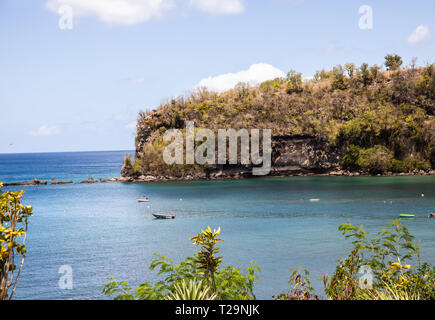 A view over the Caribbean Sea from St Lucia - Stock Image