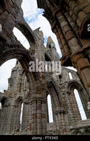 Whitby Abbey, East Cliff, Whitby, North Yorkshire, England, UK - Stock Image