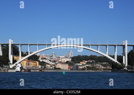 Ponte da Arrabida, one of several bridges which span the River Douro, Oporto, Portugal - Stock Image