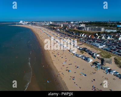 France, Hauts de France, Pas de Calais, aerial pic. Calais beach - Stock Image