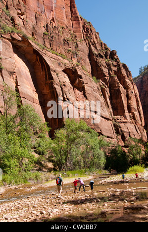 USA Utah, Zion National Park. Temple of Sinawava land form. - Stock Image