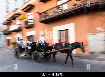 Horse carriage Cartagena de Indias Colombia South America - Stock Image