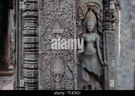 Close-up of carvings, Angkor Wat, Siem Reap, Cambodia - Stock Image