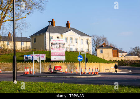 Signs advertising the show home and phase 3 homes of the Kingston Mills housing development in Bradford on Avon Wiltshire - Stock Image