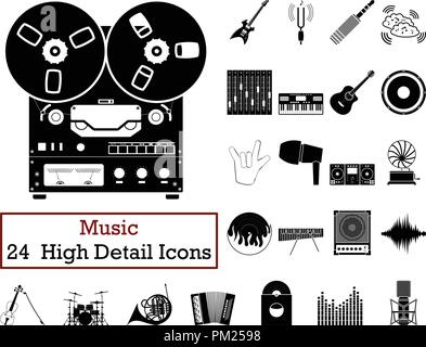 Set of 24  Music Icons. Monochrome color design. Vector illustration. - Stock Image