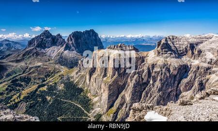 Marmolada mountain range seen from the Sass Pordoi plateau in Dolomites, Trentino Alto Adige, northern Italy, Europe - - Stock Image