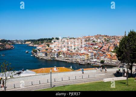 View of Porto from Vila Nova de Gaia, Portugal. - Stock Image