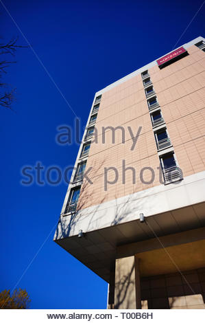Poznan, Poland - October 31, 2018: High Mercure Hotel building in the city center. - Stock Image