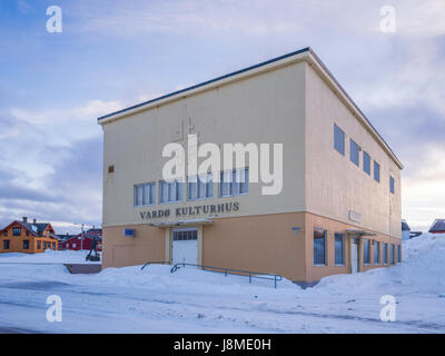 Vardø Kulturhus, a samll concert venue and cinema in Vardø, a town in Finnmark County in the far north - Stock Image
