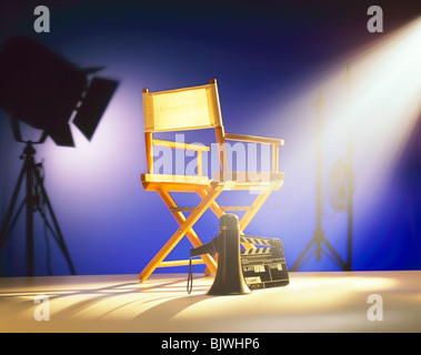 Art Director's Chair on Film Set  stage - Stock Image