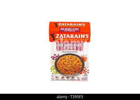 A box of Zatarains Red Beans and Rice on white background - Stock Image