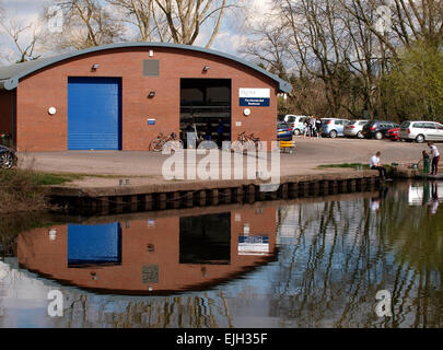 The Nicholas Bull Boathouse is home to the University of Exeter Rowing Club, Exeter Canal, Devon, UK - Stock Image