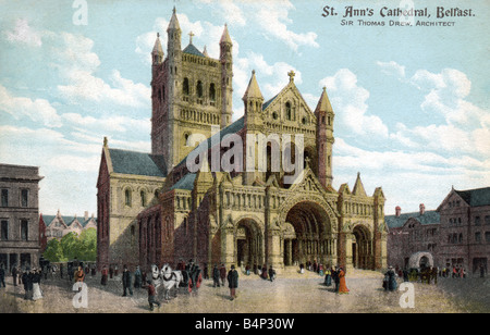 Old vintage British  Topographical Picture Postcard of St Ann's Cathedral Belfast posted 1904  FOR EDITORIAL - Stock Image
