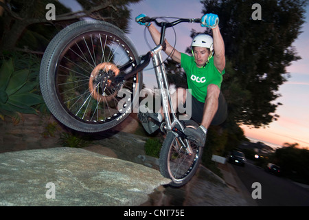 bike bicycle cycling trials mountain biking activity sport outdoor active - Stock Image
