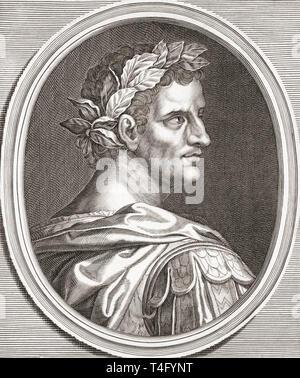 Tiberius, 43 BC - 37 AD.  Born Tiberius Claudius Nero.  Second emperor of the Roman Empire. - Stock Image