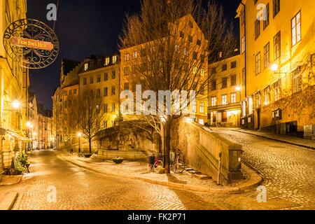 The junction of Österlånggatan, left and Köpmanbrinken (right) in Gamla Stan, the old town of Stockholm., - Stock Image