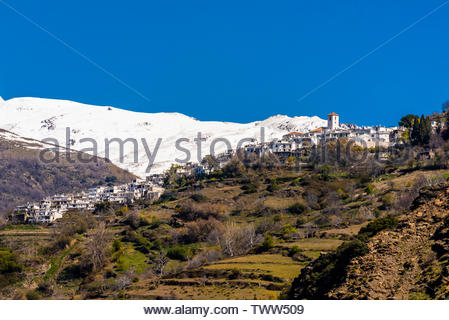 Capileira, Las Alpujarras, Granada Province, Andalusia, Spain. It is the second highest village in Spain. The Sierra Nevada Mountains are in the backg - Stock Image