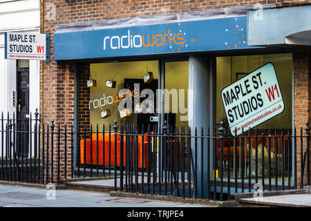 RadioWorks and Maple Street Studios  in Central London - independent audio advertising specialists - Stock Image
