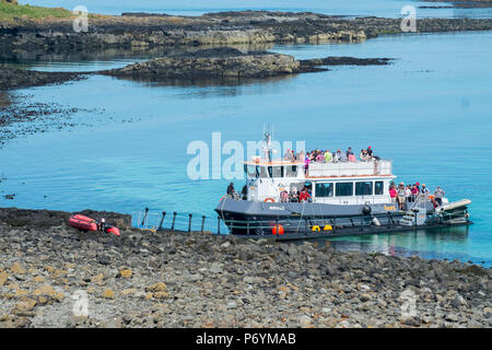 Tour boat using a floating pontoon to access Lunga, Treshnish Isles, Scotland. There is no permanent dock or slipway on the island. - Stock Image