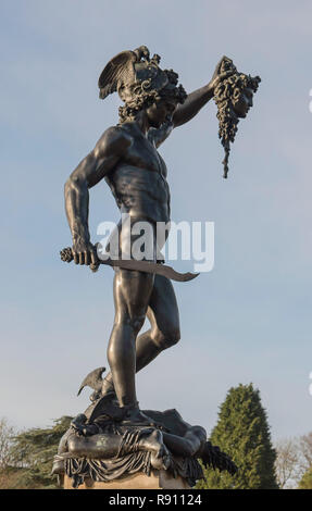 A statue of the Greek mythology  Perseus with the head of Medusa. - Stock Image
