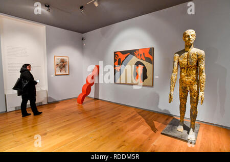 Prague, Czech Republic. 18th Jan, 2019. Exhibition 'Force of Act. Jan Palach and Jan Zajic In Art Between 1969 and 2009' was opened in the Museum Kampa in Prague, Czech Republic, on January 18, 2019. On the right side is seen sculpture called 'Jan' by Olbram Zoubek. Credit: Vit Simanek/CTK Photo/Alamy Live News - Stock Image