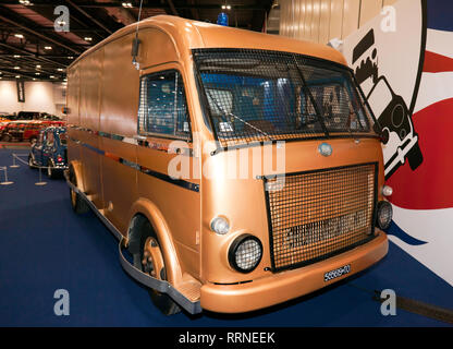 Front view of an OM Furgonato Sicurezza 'Bullion' Van,  which featured in the  heist sequence of 'The Italian Job', part of  a special tribute - Stock Image