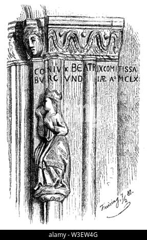 Friedrich Barbarossa's wife Beatrix. Sculpture at the cathedral of Freising, built with her support, mid 12th century, 'Conjux Beatrix Comitissa Burgundiae a.o. MCLXI (1161), , Freising (history book, 1899) - Stock Image
